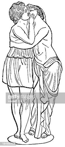 cupid and psyche - aphrodite stock illustrations, clip art, cartoons, & icons