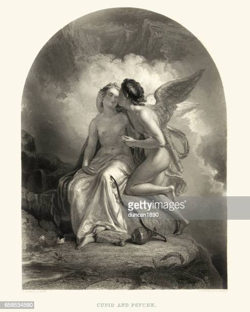 stockillustraties, clipart, cartoons en iconen met amor en psyche - cupidon