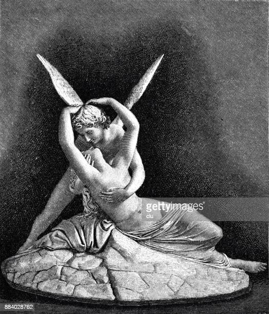 cupid and psyche statue embracing each other with spread wings - cupido stock illustrations
