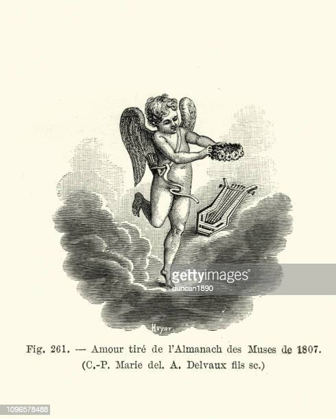 cupid and the love of the arts, 1807 - cupido stock illustrations
