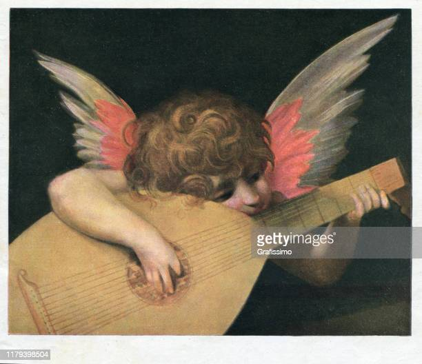 cupid angel amor playing love songs on the guitar - innocence stock illustrations