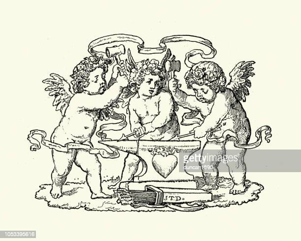 cupid angels making arrows of love - cupido stock illustrations