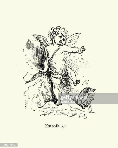 cupid drops the crown. orlando furioso - cupid stock illustrations