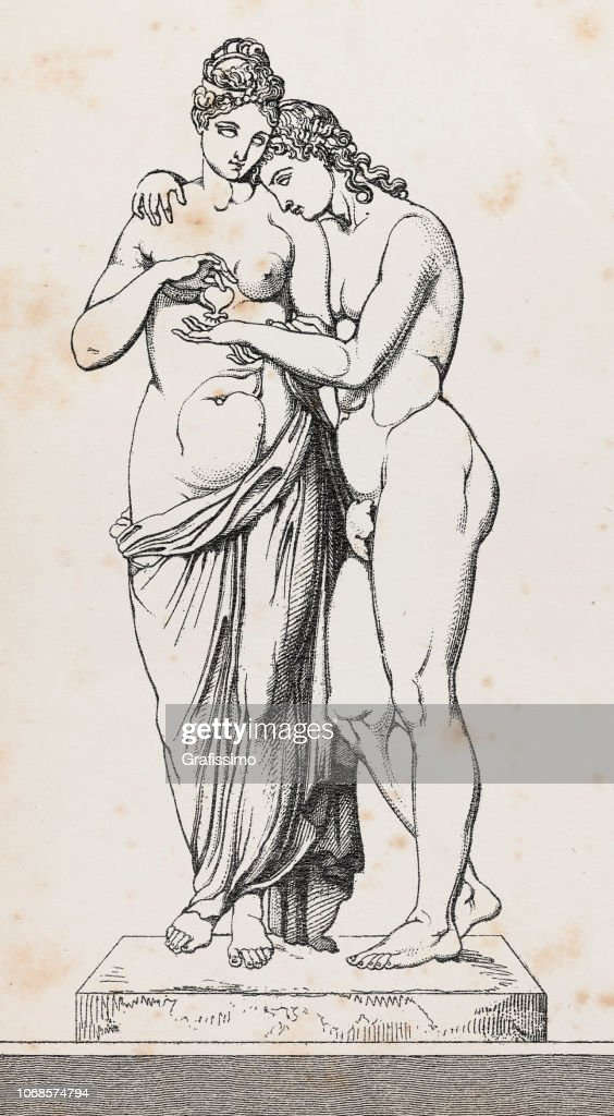 Cupid or Amor and Psyche or Anima sculpture illustration : stock illustration