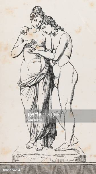 cupid or amor and psyche or anima sculpture illustration - roman goddess stock illustrations