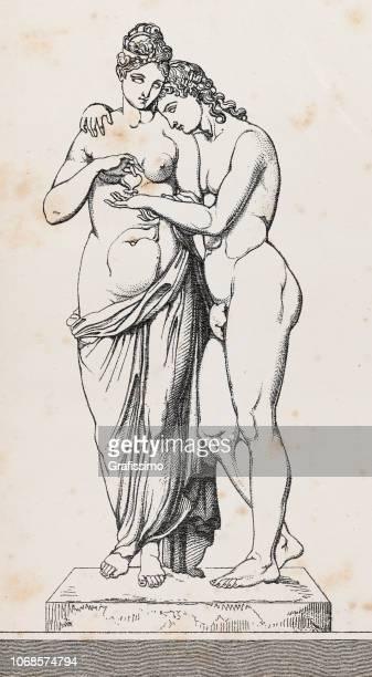 ilustraciones, imágenes clip art, dibujos animados e iconos de stock de ilustración de escultura de cupido o amor y psique o anima - roman goddess