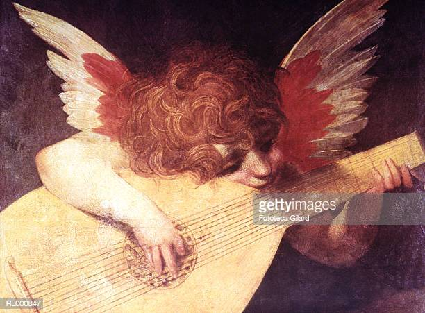 stockillustraties, clipart, cartoons en iconen met cupid playing the lute - cupidon