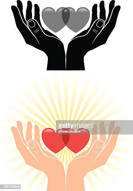 Cupped hands and hearts