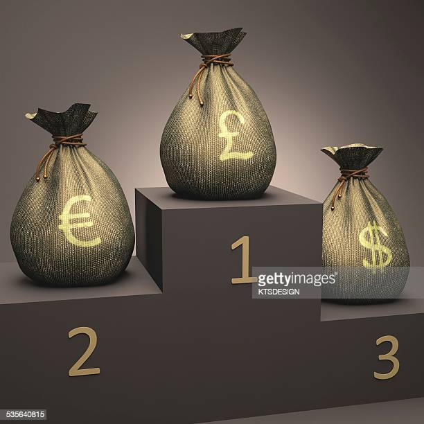 Currencies on a podium, illustration
