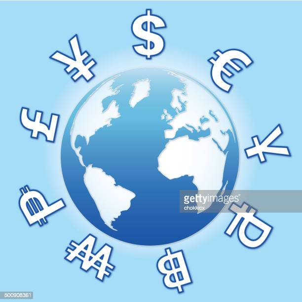 currencies with blue globe