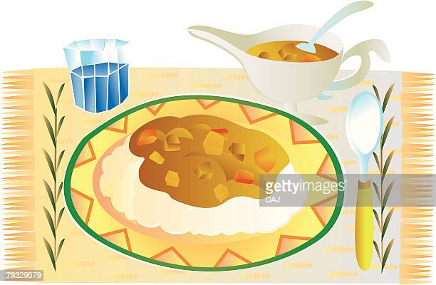 Curry rice, close-up, illustration