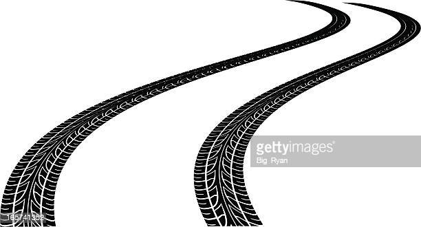 curved tire tracks - tire marks stock illustrations, clip art, cartoons, & icons