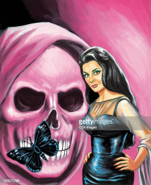 Curvy Woman in Front of Purple Skull with Butterfly