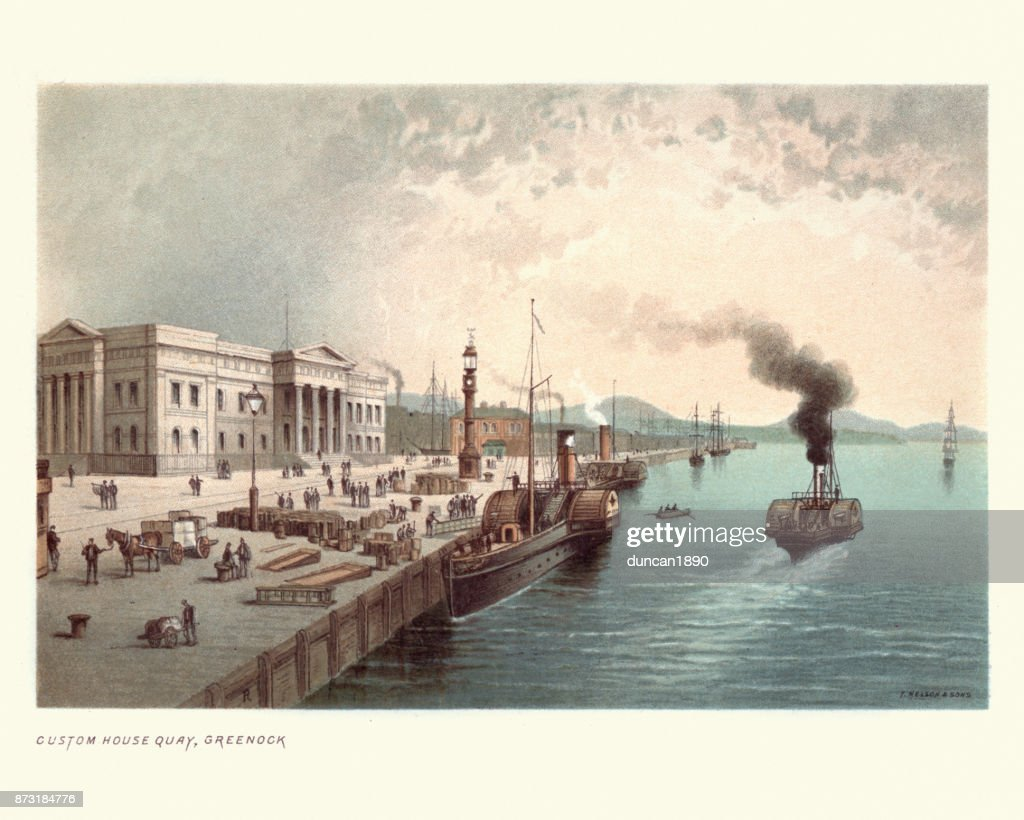 Custom House Quay, Greenock, Scotland, 19th Century : stock illustration