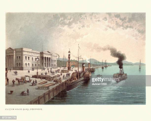 custom house quay, greenock, scotland, 19th century - clyde river stock illustrations, clip art, cartoons, & icons