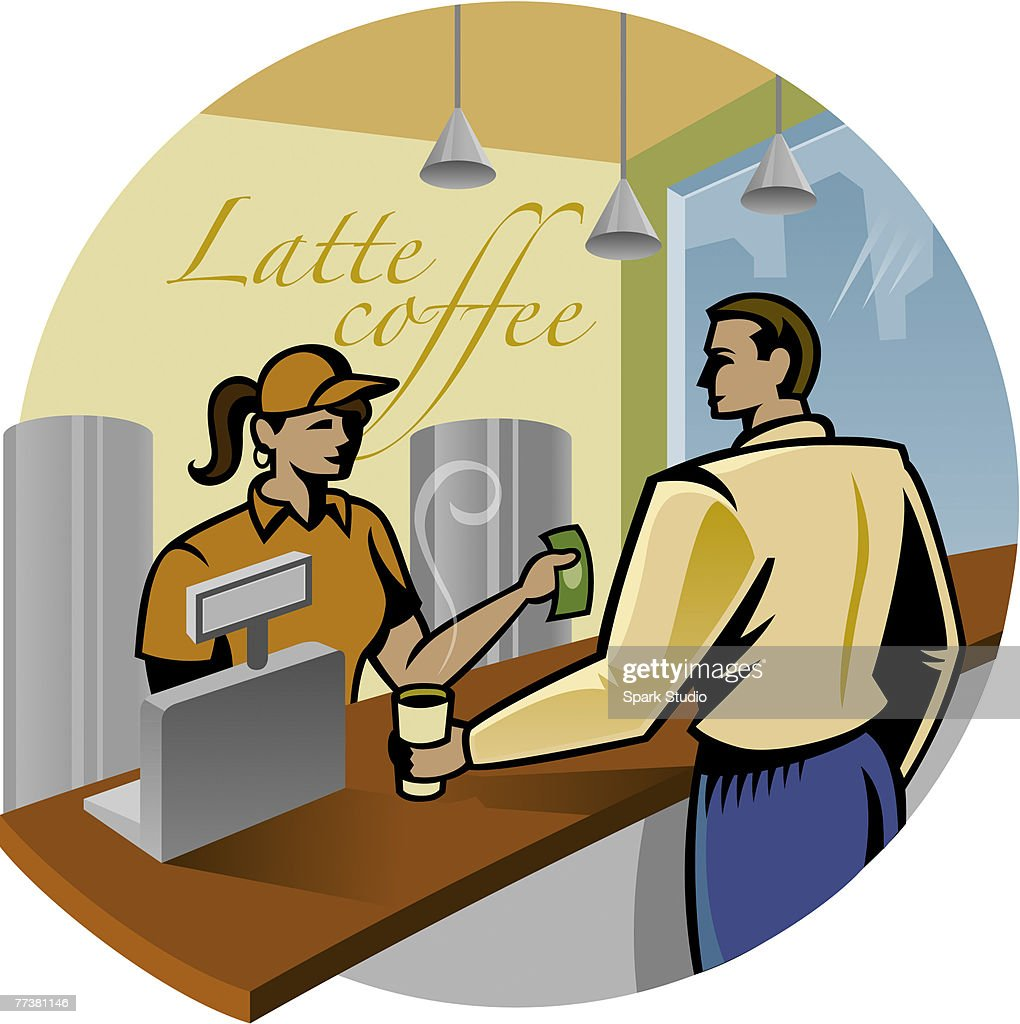 A customer buying coffee at a shop : Illustration