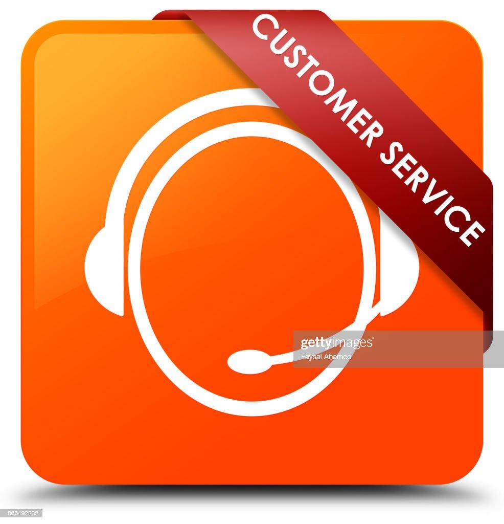 Customer Service Care Icon Orange Square On Red Ribbon In Corner Stock