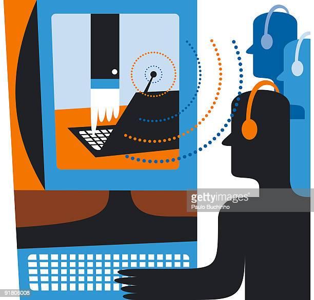 ilustrações de stock, clip art, desenhos animados e ícones de a customer support network over the internet - buchinho