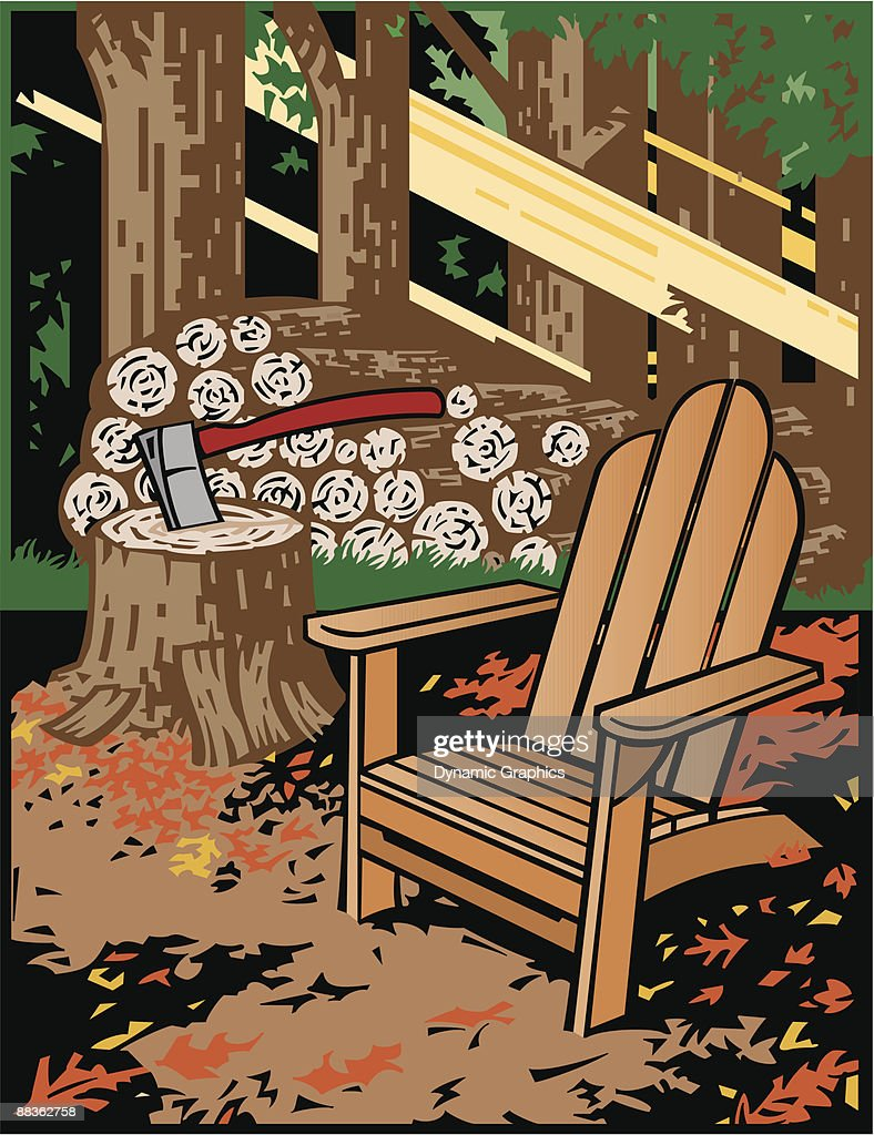 Cut Firewood Beside Adirondack Chair Color Grouped Elements