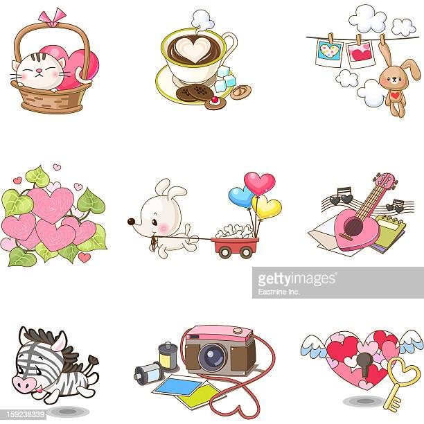 cute animals and item - sugar cube stock illustrations, clip art, cartoons, & icons