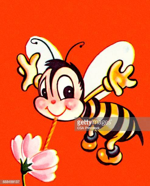 Cute Bee Drinking from a Flower