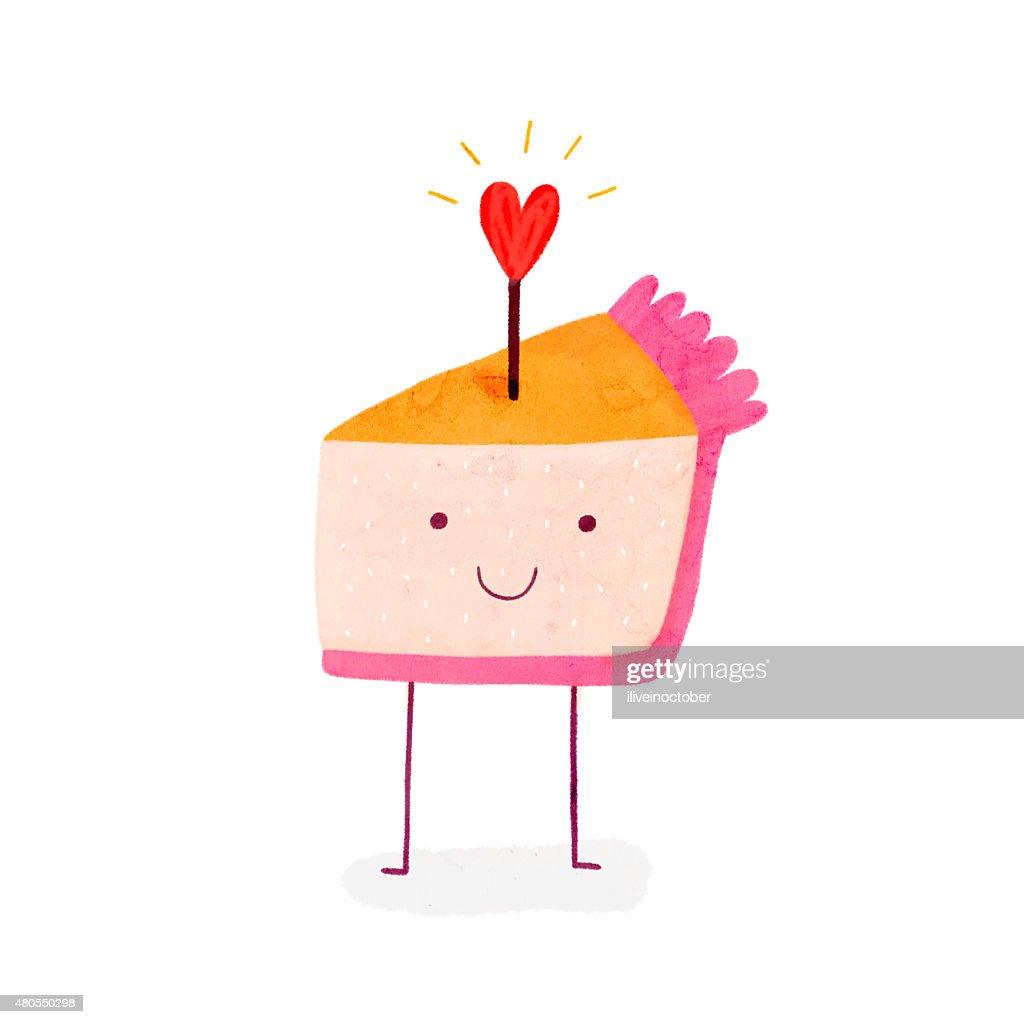 Linda torta de cumpleaños con brillante corazón. : Ilustración de stock