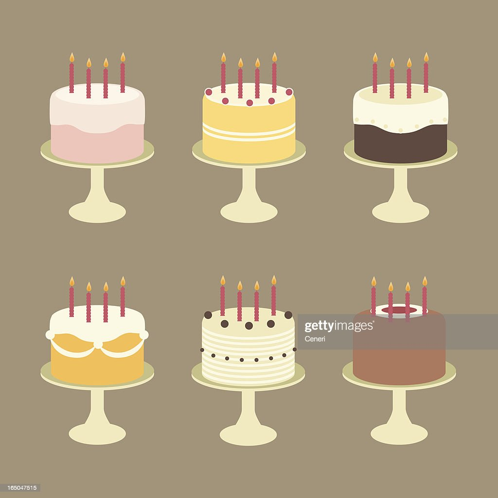 Super Cute Birthday Cakes With Candles On Cake Stands High Res Vector Funny Birthday Cards Online Alyptdamsfinfo