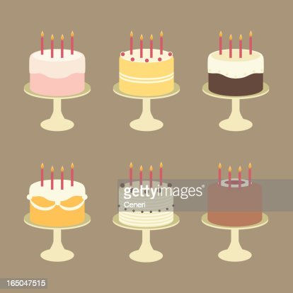 Superb Cute Birthday Cakes With Candles On Cake Stands High Res Vector Funny Birthday Cards Online Aboleapandamsfinfo