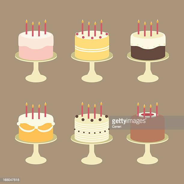 cute birthday cakes with candles on cake stands - birthday cake stock illustrations, clip art, cartoons, & icons