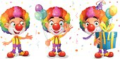 Cute Cartoon Clown Character with Balloons and Giftbox