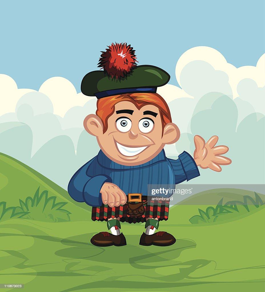 Cute cartoon Scotsman with a kilt and sporran