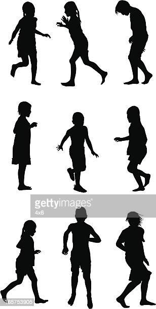 Cute children running and playing