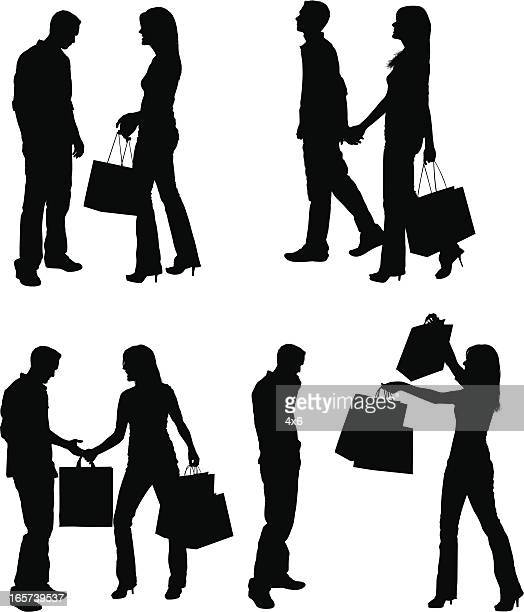 stockillustraties, clipart, cartoons en iconen met cute couples shopping at the mall - menselijke relaties