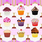 Cute Cupcakes Seamless Pattern