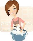 Cute dog groomer