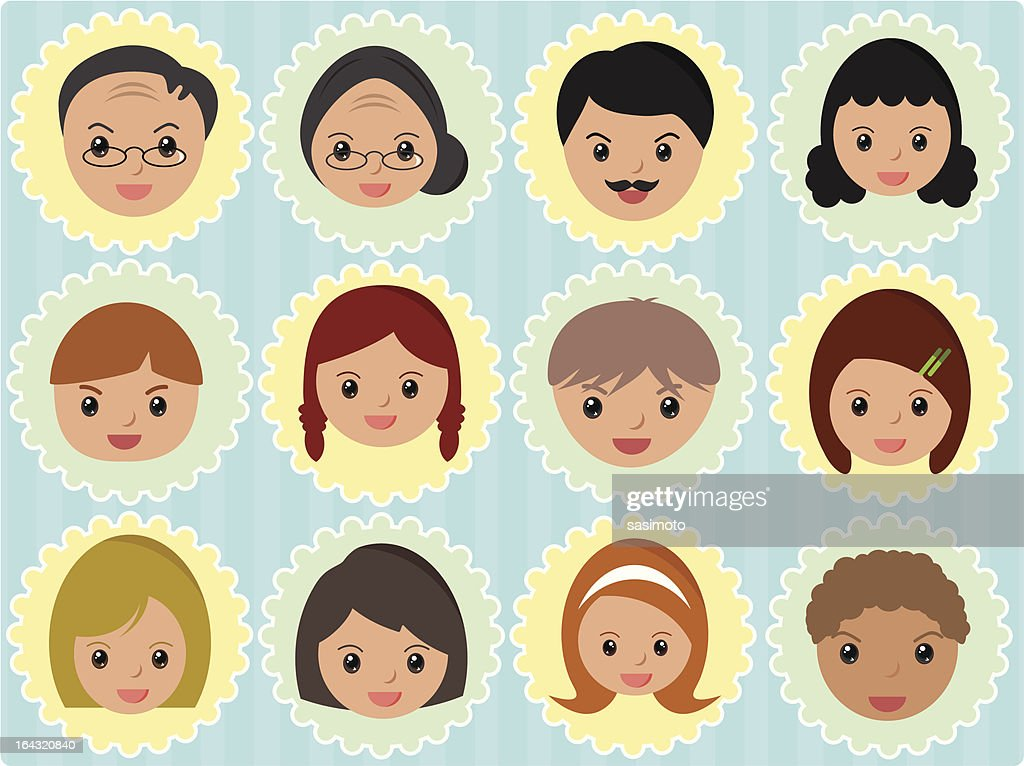 Cute Family members Icons (vector Set 2)
