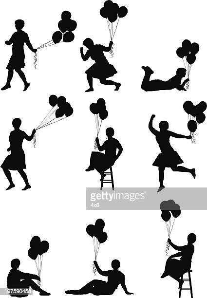 cute female silhouettes with balloons - skipping stock illustrations, clip art, cartoons, & icons