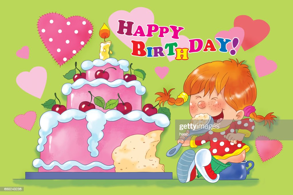 A Cute Girl Eating Her Birthday CakeBirthday Greeting Card Illustration For Children