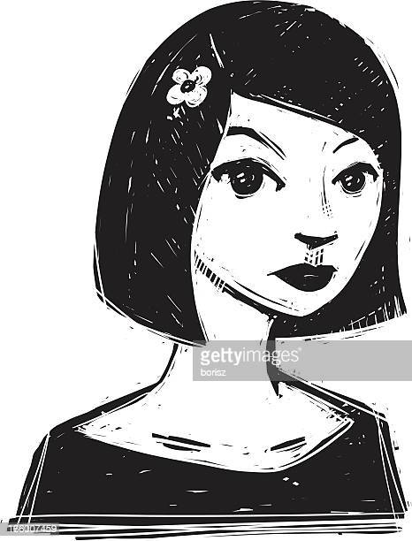 cute girl - young goth girls stock illustrations