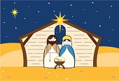 Cute Nativity Characters in a Barn