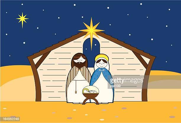 Cute Nativity Characters in a Barn