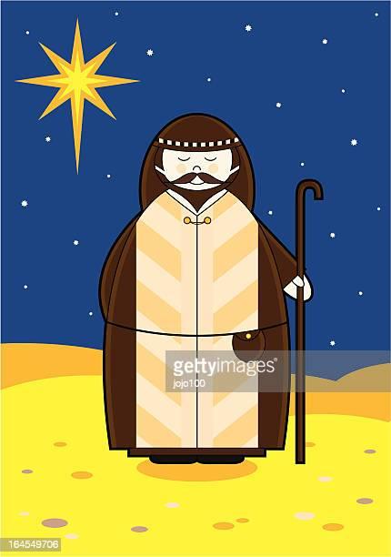 cute nativity shepherd in a night dessert - north star stock illustrations