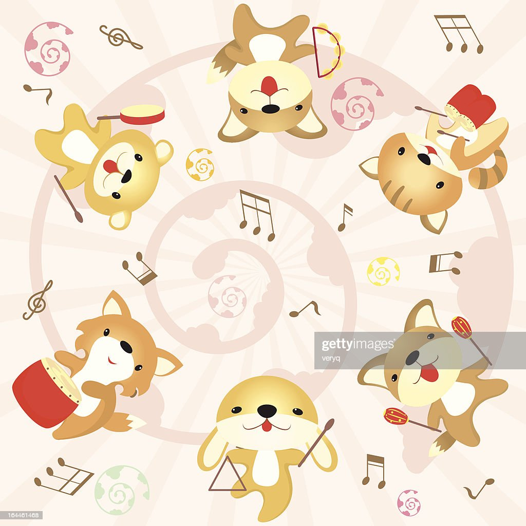 cute rabbit celebrating and playing music