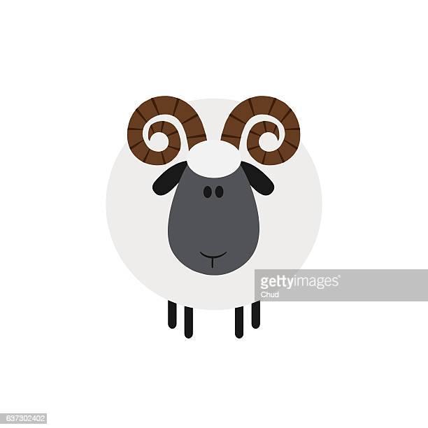 ilustrações, clipart, desenhos animados e ícones de cute ram sheep - ram animal