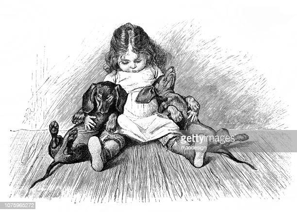 cute scene with sleeping small girl and two dachshunds - 1896 - two animals stock illustrations