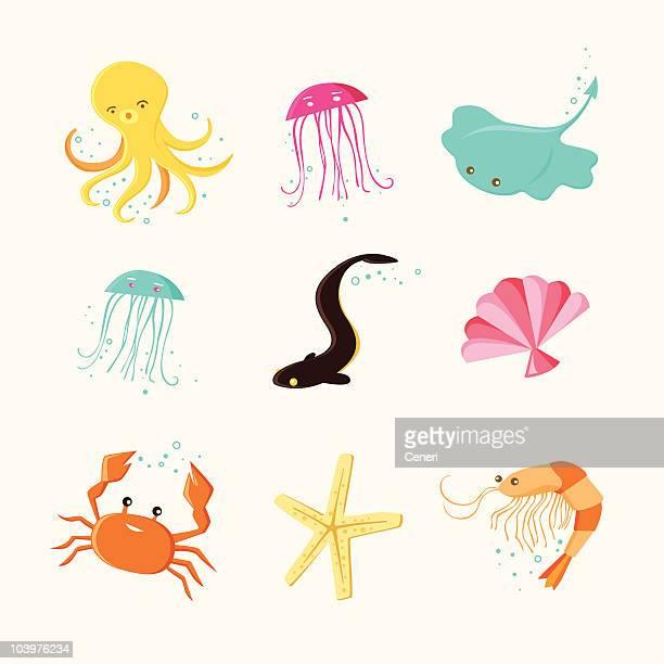 ilustrações, clipart, desenhos animados e ícones de linda vida marinha ícones - camarões