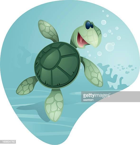cute sea turtle - sea turtle stock illustrations