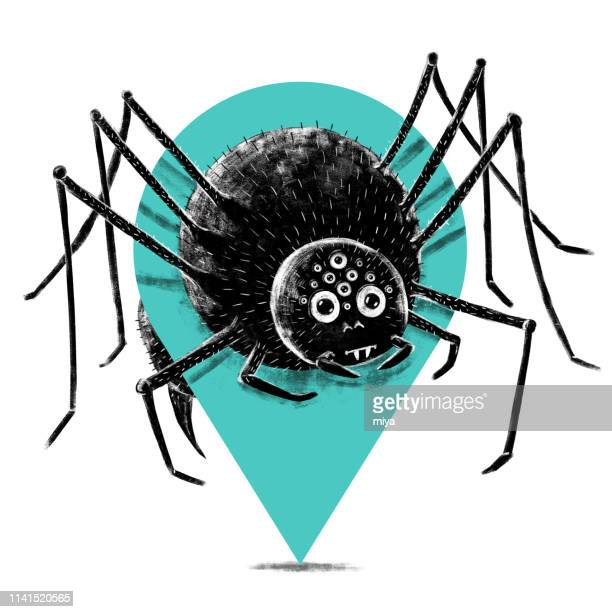 cute spider and pin - illustration - locator map stock illustrations