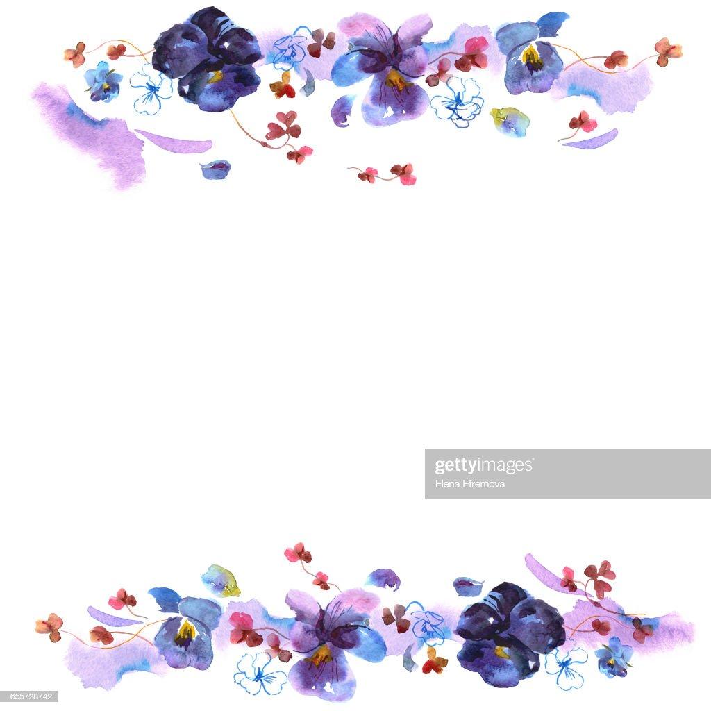 Cadre De Fleur Aquarelle Mignon Fond Avec Des Pensees Illustration