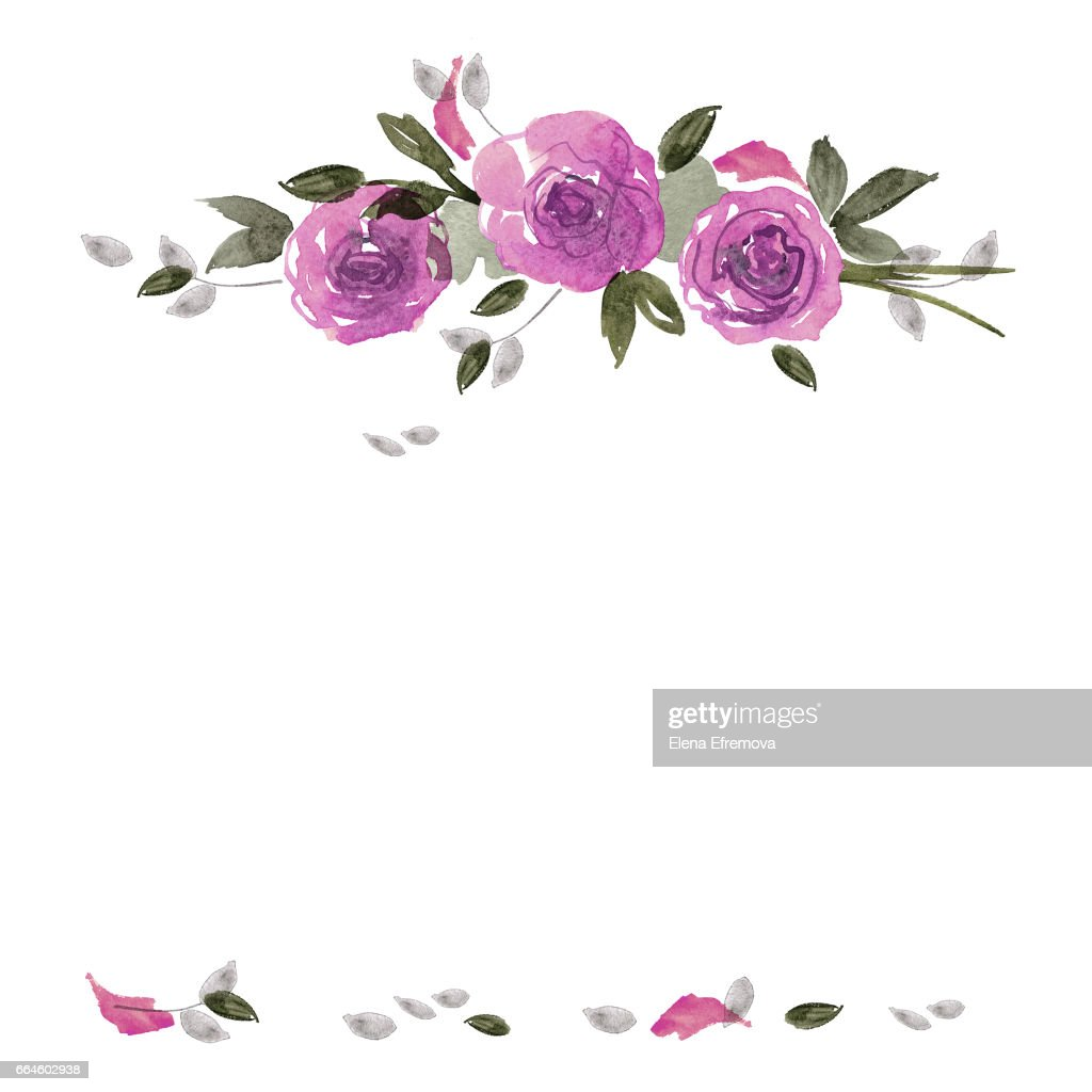 Cute Watercolor Flower Frame Background With Purple Roses ...